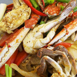 Swimming Crab Stir Fry With Organic Red Curry Paste